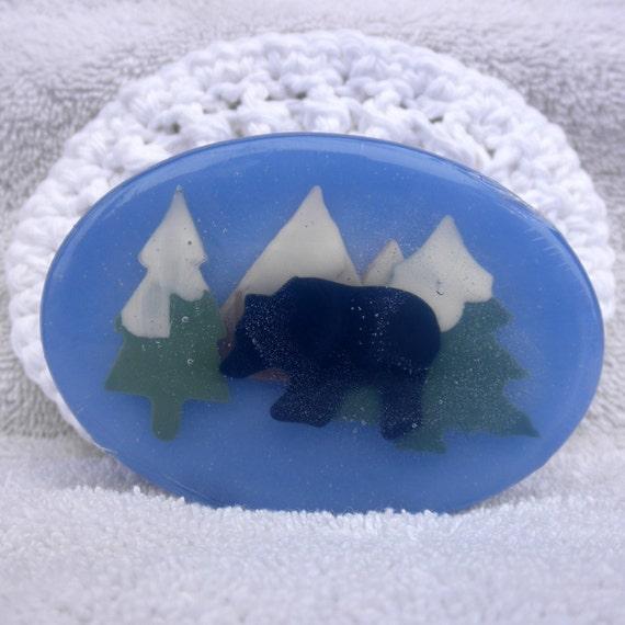 Black Bear Wildlife Art Soap in Cool Water