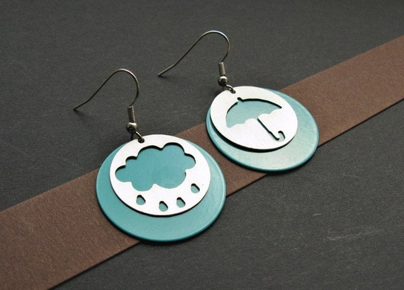 Umbrella / cloud turquise blue earrings - made of stainless steel and colored aluminium