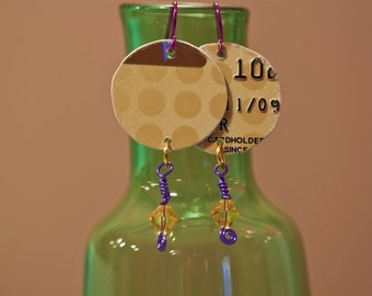 Recycled Credit Card Earrings Gold Dots