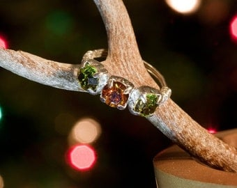 Swarovski crystal olive and amber silver wire ring
