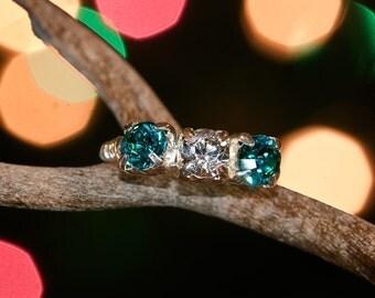 Swarovski crystal aqua and crystal silver wire ring