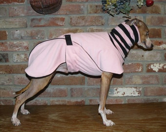 "FREE US SHIPPING Pink Dog Coat  Size  15"" (#00029)  Italian Greyhound, Chinese Crested, Min Pin, Bedlington Terrier, Small Dog"