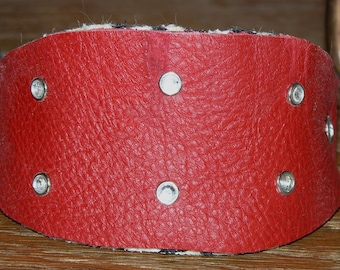 """Red Jeweled Leather Martingale Dog Collar Fits 8"""" to 10"""" inches  Small dog. (#20005)"""