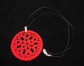 Round Crochet Pendant, Red, Green
