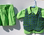 9 mo Green Plaid  Vest, Shirt, Shorts for 9 to12 month old boy