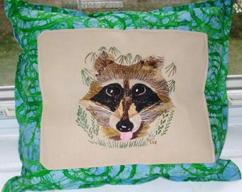 Embroidered Edgar Raccoon Pillow