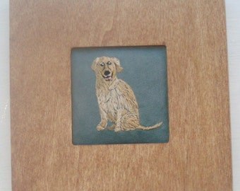 Yellow Lab Dog Portrait Miniature Embroidered