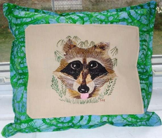 Embroidered Edgar Raccoon Pillow