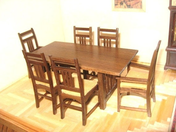 miniature harvey ellis mission style dining room table and chair set