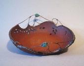 Large Decorative Pottery Bowl w/ Metal Work and Amazonite Stones, Fruit Bowl