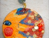 Solar Fire- A pair of vibrant colored decoupaged earrings