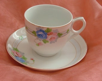 TEACUP and SAUCER Pink and Blue Roses MEITO China  Hand Painted