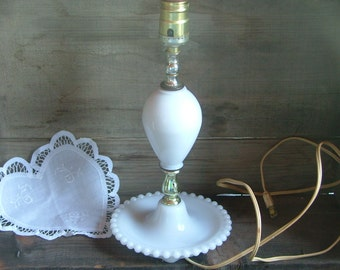 Antique White Milk Glass Bedside Lamp