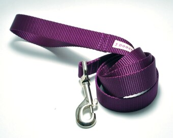 Nylon Webbing Solid Dog Leash 4 Foot Length / Classic Solid / 24 Colors / 2 Types of Clasps