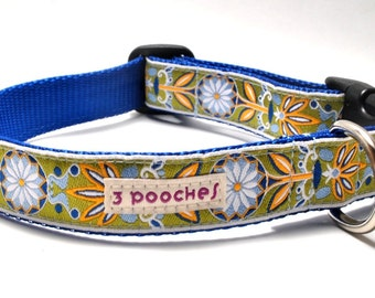 Custom Dog Collar - Marigold in Blue