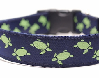 Turtle Dog Collar / Custom Dog Collar / Lime Turtles /Martingale or Buckle
