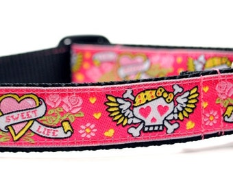 Pink Skull Dog Collar / Tattoo in Pink / Custom Dog Collar