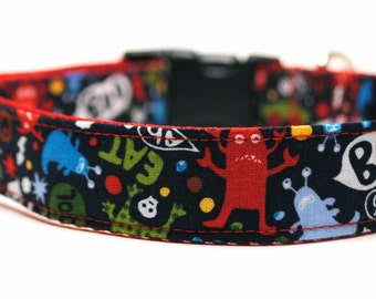 Monster Dog Collar / Monster Mash / Custom Dog Collar / Red / Blue