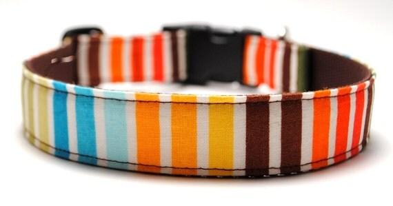Stripe Custom Dog Collar/ Cotton Candy Stripe/ Boy Dog/Martingale Collar