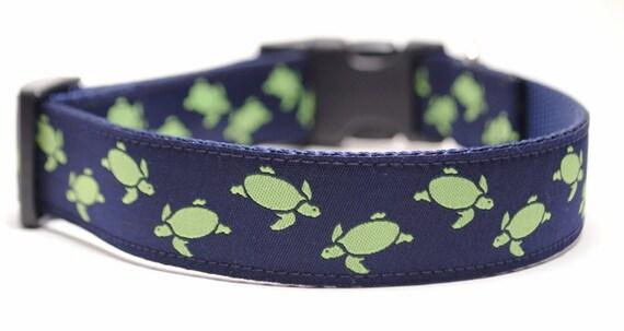 Turtle Dog Collar / Custom Dog Collar / Lime Turtles