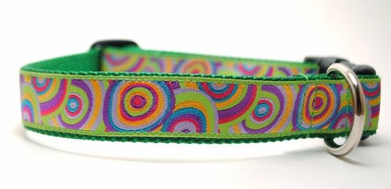 Custom Dog Collar - Bullseye in Green