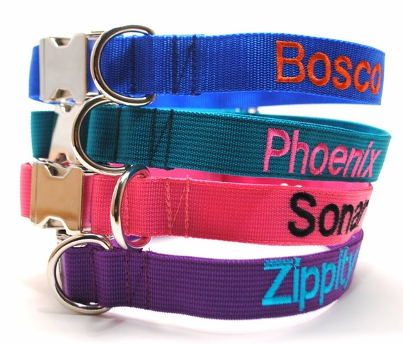 Classic Solid Custom Dog Collar with Metal Buckle - Personalized