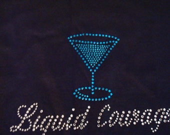 Liquid Courage T-Shirt, Clear and Cobalt-Blue Rhinestone Design,Ladies T-Shirts,Drinking T-Shirts,Courage T-Shirts
