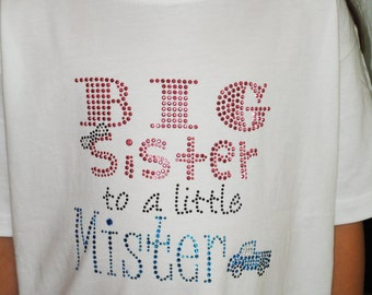 Big Sister T-Shirt,Big Sister to a Little Mister Pink, Black stud, and Sea Blue Stone Rhinestone Design,Girls T-Shirts,Toddler T-Shirts