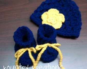 handmade baby set/Blue Gold baby set/boy or girl/booties and hat set/crochet baby hat/crochet baby booties/made in the USA/ready to ship