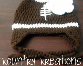 Crochet Baby Football Hat, Newborn Football Hat, Baby Hat, Toddler Hat, Girly LET'S PLAY Some FOOTBALL Girls Baby Hat  (Ready to Ship)