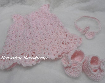 Baby Dress/ Slippers / Headband Set/ My LITTLE SPRING FLING Baby Set which includes Dress/ Slippers / Headband  Newborn (Ready to Ship)
