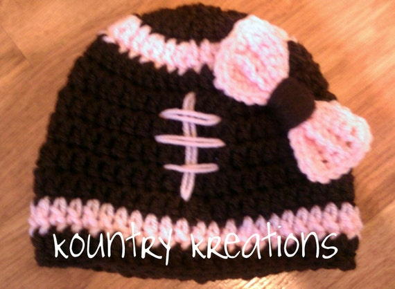 Girls Football Hat with Bow/LET'S PLAY FOOTBALL Baby Hat/Crochet Football Hat/Newborn Football Hat/Baby Girl Hat/Toddler Hat (Ready to Ship)