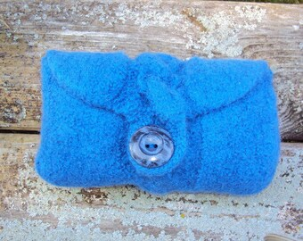 Clutch Bag Cable Knit Wool Felted Medium Blue