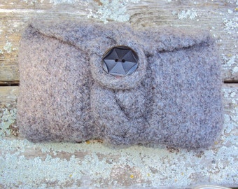 Clutch Bag Hand Knit Wool Felted Gray