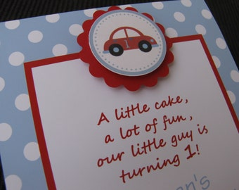 Car Theme Embellished Invitations - You choose the colors