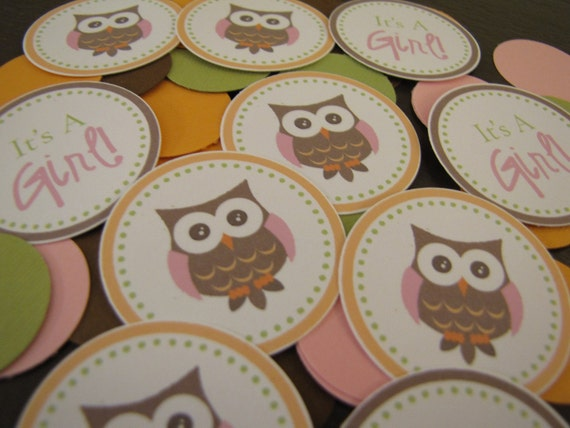 Baby Girl Shower Decorations, Owl Confetti, Baby Shower Decorations, Customized