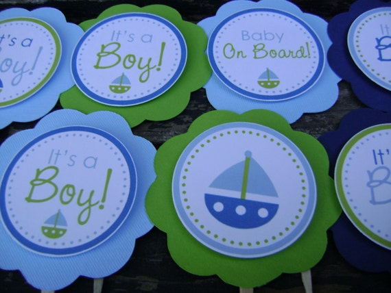 Nautical Baby Shower Decorations, Baby Shower Decorations, Baby Shower Décor, Nautical Baby Shower CUPCAKE TOPPERS, You Choose The Colors
