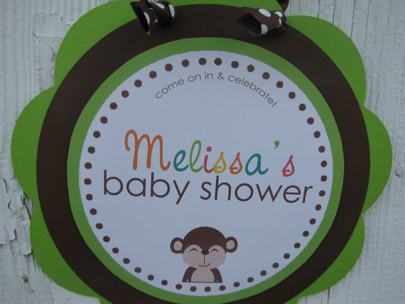 Jungle Baby Shower Sign, Jungle Welcome Sign, Monkey Baby Shower Sign, Door Sign, Baby Shower Decorations, You Choose Colors & Saying