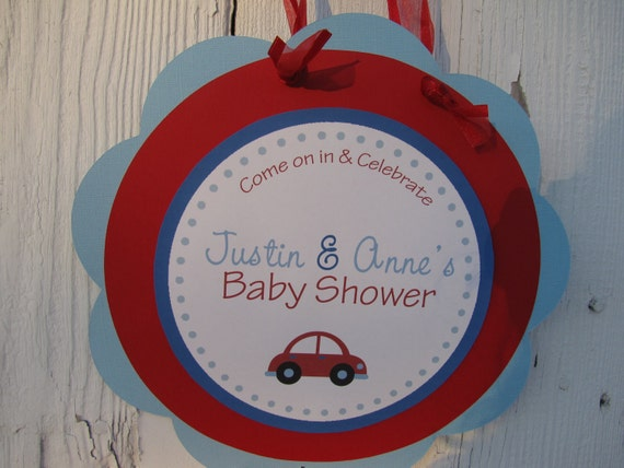 red car themed door sign baby shower personalized you choose the