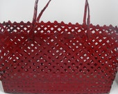 Rustic Red Woven Metal Tote Funky Bag Unique Purse