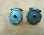 Round Mother of Pearl Vintage Cufflinks with Rhinestones