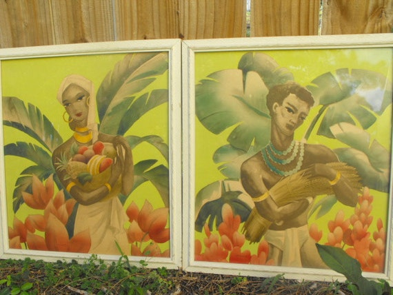 Bernard Picture Co Tropical Prints 40s Or 50s By Veesvintage