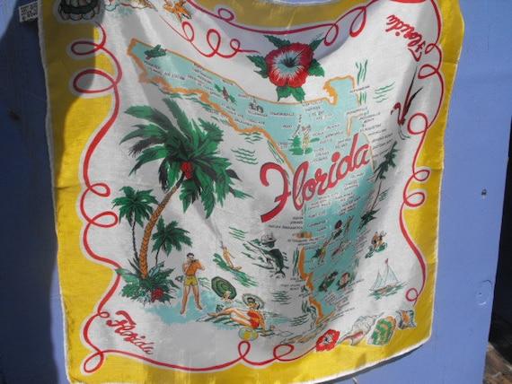 Florida Scarf 1960s Souvenier  Collectible