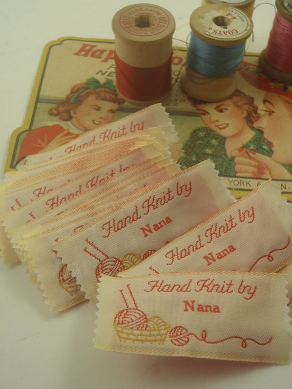 Fabric tags labels hand knit by nana by veesvintage on etsy for Hand knit labels