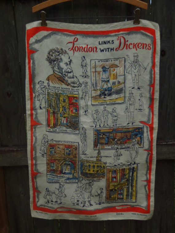 Charles Dickens London Links Irish Linen Towel