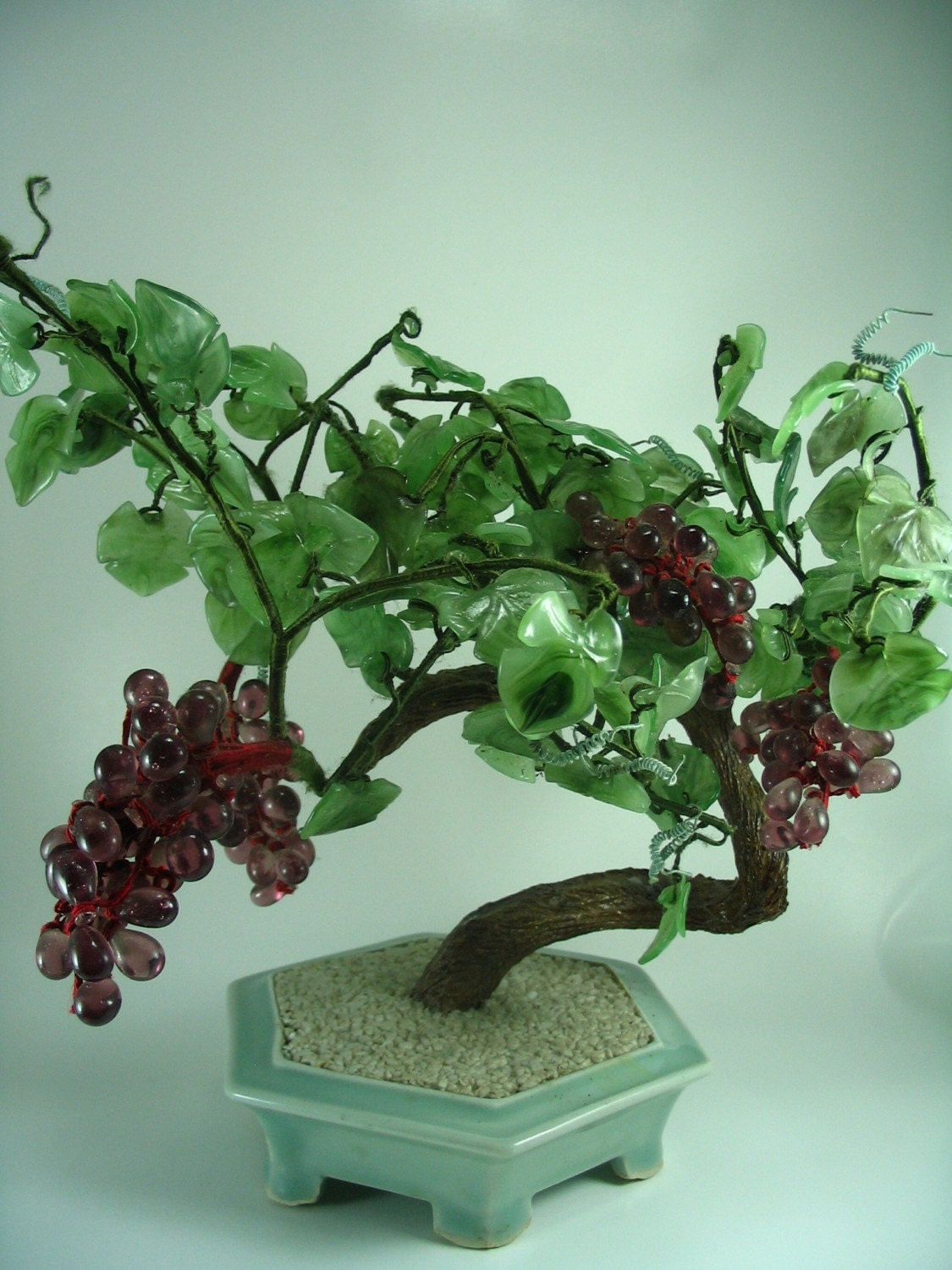 Reserved For Judy Vintage Glass Bonsai Grape Vine Tree