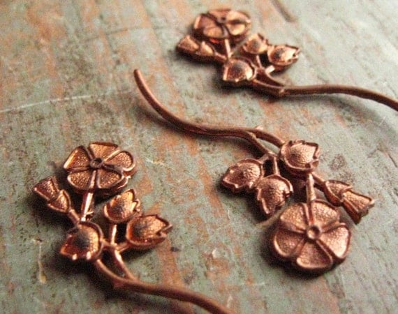 Amazing Diecut Copper Flower on Stem for Jewelry or Craft