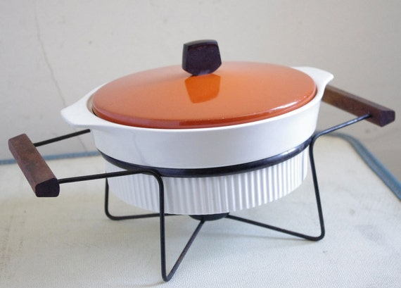 Mid-Century Orange and White Casserole with Teak and Black Stand