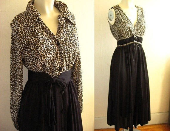 Super Sexy Sixties Miss Elaine Nightgown and Belted Robe Set - Leopard