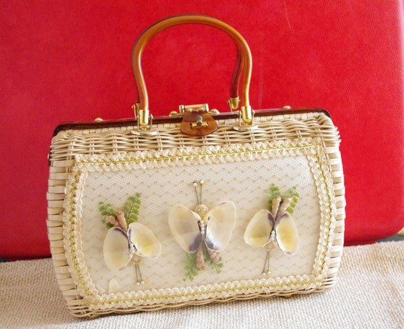 Charming Wicker Butterfly Bag with Amber Lucite Handles
